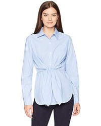 Lark & Ro - Woven Shirt With Knotted Waist - Lyst