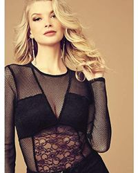 9dfda62156 Lyst - Guess Long Sleeve Cyon Lace Bodysuit in Blue - Save 51%