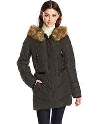 Kensie Diamond-quilted Down Coat With Faux Fur Hood - Black