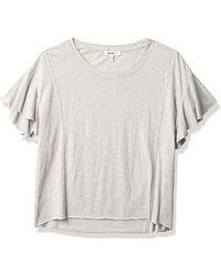 William Rast Annika Flutter Short Sleeve Top - Gray