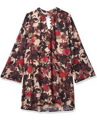 Nanette Lepore Long Bell Slv Choker Nck Trapeze Dress - Multicolor