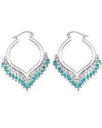 Satya Jewelry - Turquoise Silver Wrapped Hoop Earrings, Blue, One Size - Lyst