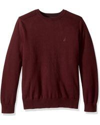 Nautica Crew Neck Lightweight Sweater - Red