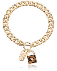 """Guess - """"basic"""" Gold Dogtag And Padlock Pendant Necklace - Lyst"""