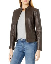 Cole Haan Racer Jacket With Quilted Panels - Brown