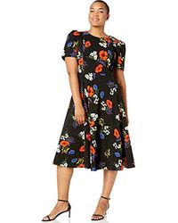 Calvin Klein - Plus Size Short Sleeve A-line Midi Dress - Lyst
