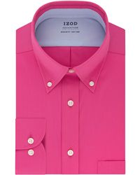 Izod Dress Shirt Regular Fit Stretch Cooling Collar Check - Pink