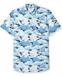 Goodthreads Standard-Fit Short-Sleeve Printed Shirt Button-Down-Shirts - Blu