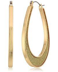 Steve Madden - 18k Gold Plated Stainless Steel U-shaped Flat Hoop Glitter Hinge Drop Earrings - Lyst