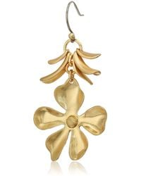 Lucky Brand - Gold Floral Petal Drop Earrings - Lyst