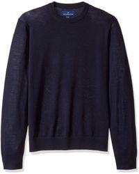 Buttoned Down Italian Merino Wool Lightweight Cashwool Crewneck - Blue