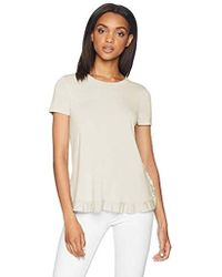 Adrianna Papell Short Sleeve Ruffle Sweater - White