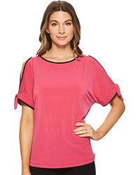 Ivanka Trump - Matte Jersey Piped Cold Shoulder Shrt Sleeve Top - Lyst