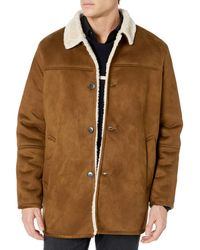 Tommy Hilfiger Classic Faux Shearling Walking Coat - Brown
