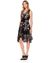 Ivanka Trump - Sleeveless Velvet Burn Out Hanky Hem Dress - Lyst