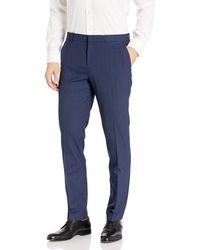 Perry Ellis Portfolio Very Slim Subtle Plaid Dress Pant - Blue