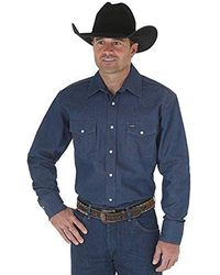 Wrangler Cowboy Cut Western Two Pocket Long Sleeve Snap Work Shirt-firm Finish - Blue