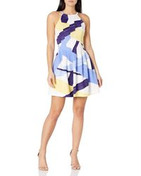 Vince Camuto Printed Scuba Halter Fit And Flare Dress - Blue