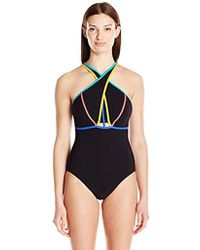 Gottex - Cross Front Contrast Piping High Neck One Piece Swimsuit - Lyst