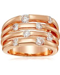 Guess - Basic Look Of 4 Band With Stones Ring, Size 7 - Lyst