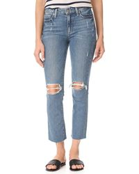 PAIGE Jacqueline High Rise Straight Leg Crop Jean - Blue
