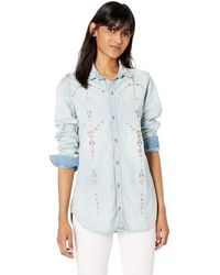 Lucky Brand Denim Embroidered Button Up Bf Shirt - Blue