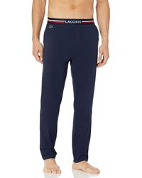 Lacoste Underwear Semi Fancy Solid Jersey Cotton Pajama Pant - Blue