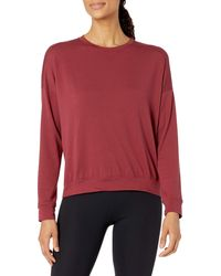 Core 10 Soft Cotton French Terry Crew-neck Long-sleeve - Red