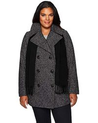 London Fog - Double Breasted Plus Size Peacoat With Scarf - Lyst