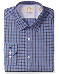 Original Penguin - Slim Fit Performance Point Collar Check Dress Shirt, Blue/brown - Lyst