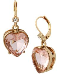 Betsey Johnson Stone Heart Drop Earrings - Pink