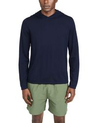 Vince Long Sleeve Pullover Cashmere Hoodie - Blue