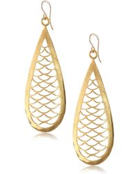 Devon Leigh Carved Yellow Gold-plated Bronze Teardrop Earrings - Metallic