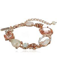 Badgley Mischka S Blush & Crystal Flower Line Bracelet, Rose Gold Tone, One Size - Metallic