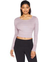 Danskin Long Sleeve Crop Top With Cutout - Purple