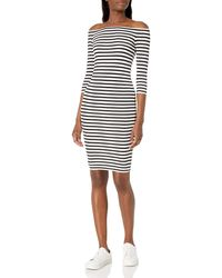 Bailey 44 Off The Shoulder Stripe Galley Down Dress - Black