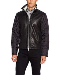 Armani Exchange -   Eco Lether Front Jcket With Quilted Nylon Sleeves - Lyst