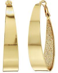 Guess Large Oval Glitter Gold Hoop Earrings - Metallic