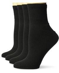 Dr. Scholls 4 Pack Diabetic And Circulatory Non Binding Ankle Socks - Black