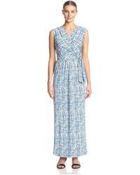 James & Erin Surplice Maxi Dress - Blue