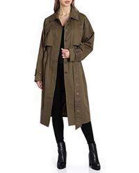 Badgley Mischka Military Inspired Cotton Trench Coat With Beaded Trim - Green