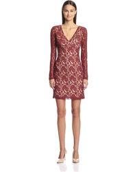 SOCIETY NEW YORK Long Sleeve V-neck Lace Dress - Multicolor