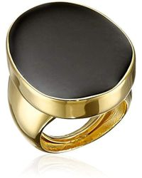 Kenneth Jay Lane - Polished Gold And Black Enamel Adjustable Ring, Size 5-7 - Lyst