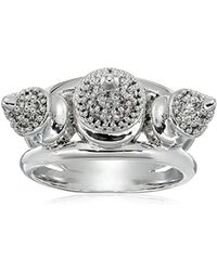 Noir Jewelry - Triple Spike Metal Rhodium Mix Ring - Lyst