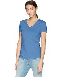 Nautica Short Sleeve Stretch V Neck Solid T-shirt - Blue