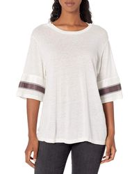 Monrow Oversized Athletic Top W/contrast Stripes - Natural