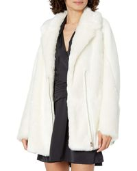 Guess Long Sleeve Rory Faux Fur Jacket - White