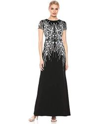 Adrianna Papell Floral Beaded Gown - Black