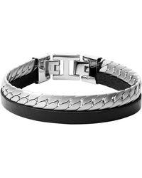 Fossil JF03634040 Armband Edelstahl Silber schwarz 20,5 cm - Mehrfarbig