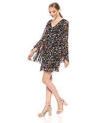 Kensie Printed Chiffon Dress With Back Detail - Black